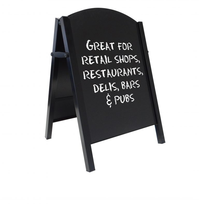 Blackboard, chalkboard a frame with curved top smart looking pavement sign for restaurants and cafes