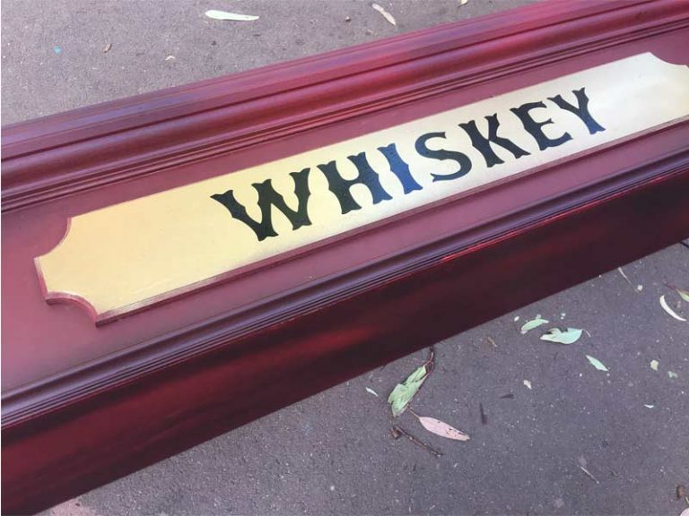 Vinyl Cut lettering Event-Signage-Whiskey-in-Western-Font