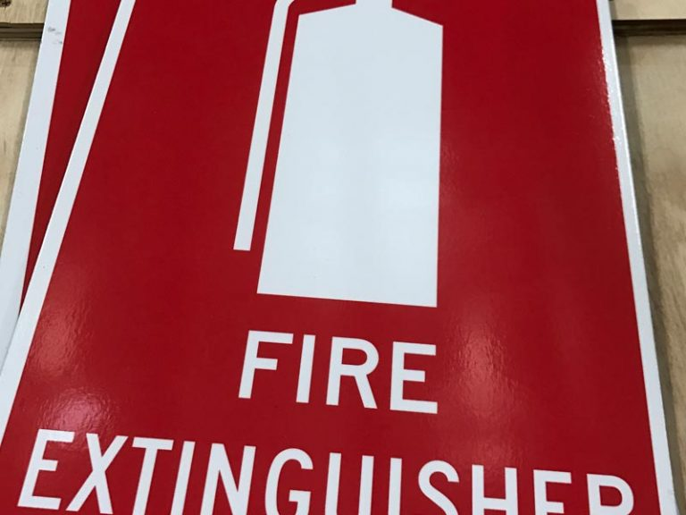BCA sign Fire extingisher sign with red and white printed vinyl on aluminium composite panels