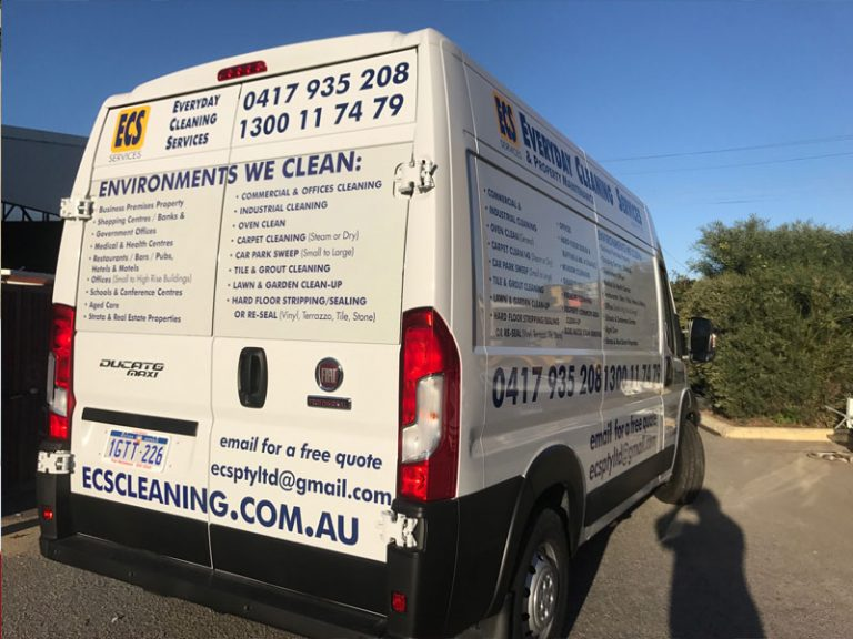 vehicle signs on large fiat van vinyl cut and one way vision for esc cleaning baywater