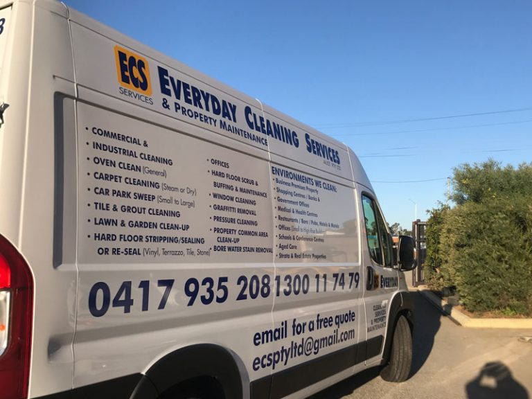 Vinyl cut side panel sign for fiat duco van blue and yellow