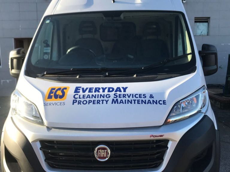 logo decal to front of vehicle